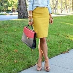 CLUB MONACO Yellow Wool Blend Pencil Skirt